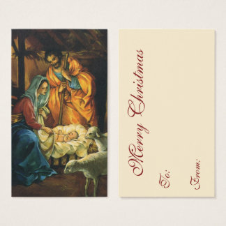 Vintage Christmas Nativity, Baby Jesus in Manger Business Card