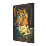 Vintage Christmas Nativity, Baby Jesus in Manger Stretched Canvas Prints