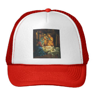 Vintage Christmas Nativity, Baby Jesus in Manger Trucker Hats