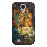 Vintage Christmas Nativity, Baby Jesus in Manger Samsung Galaxy S4 Covers