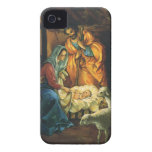 Vintage Christmas Nativity, Baby Jesus in Manger iPhone 4 Cases