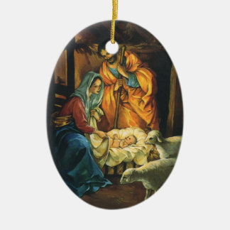 Vintage Christmas Nativity, Baby Jesus in Manger Ceramic Oval Decoration