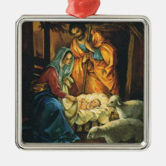 Vintage Christmas Nativity, Baby Jesus in Manger Christmas Ornament