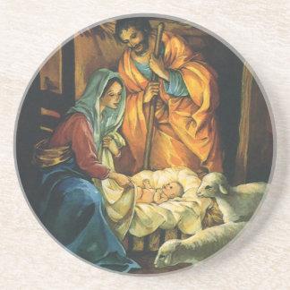 Vintage Christmas Nativity, Baby Jesus in Manger Coaster