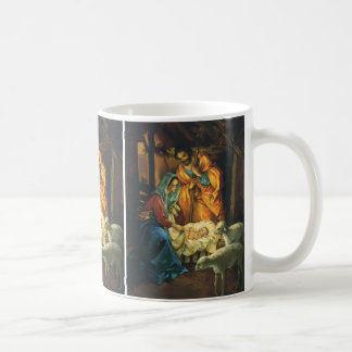 Vintage Christmas Nativity, Baby Jesus in Manger Coffee Mug