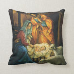 Vintage Christmas Nativity, Baby Jesus in Manger Throw Pillow
