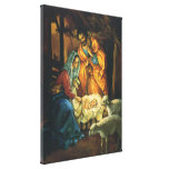 Vintage Christmas Nativity, Baby Jesus in Manger Gallery Wrap Canvas