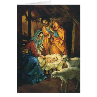 Vintage Christmas Nativity, Baby Jesus in Manger Greeting Card