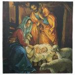 Vintage Christmas Nativity, Baby Jesus in Manger Cloth Napkin