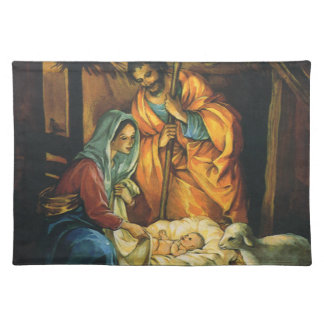 Vintage Christmas Nativity, Baby Jesus in Manger Placemat