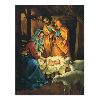 Vintage Christmas Nativity, Baby Jesus in Manger Postcard