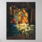 Vintage Christmas Nativity, Baby Jesus in Manger Poster