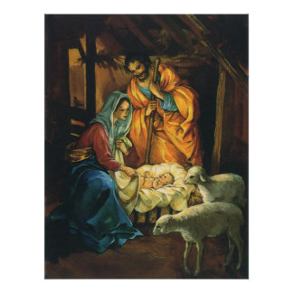 Vintage Christmas Nativity Baby Jesus in Manger Poster