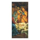Vintage Christmas Nativity, Baby Jesus in Manger Rack Card Design