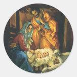 Vintage Christmas Nativity, Baby Jesus in Manger Round Sticker