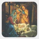Vintage Christmas Nativity, Baby Jesus in Manger Square Sticker