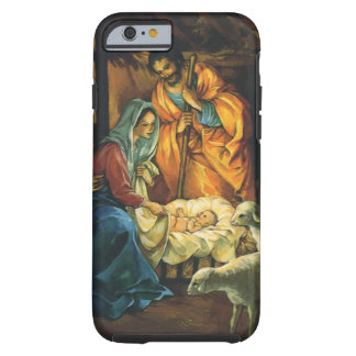 Vintage Christmas Nativity, Baby Jesus in Manger Tough iPhone 6 Case
