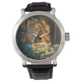 Vintage Christmas Nativity, Baby Jesus in Manger Watch
