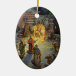 Vintage Christmas Nativity Double-Sided Oval Ceramic Christmas Ornament
