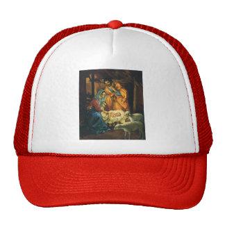Vintage Christmas Nativity Jesus in Manger Trucker Hat