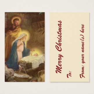 Vintage Christmas Nativity, Mary Joseph Baby Jesus Business Card