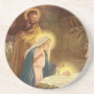 Vintage Christmas Nativity, Mary Joseph Baby Jesus Coaster
