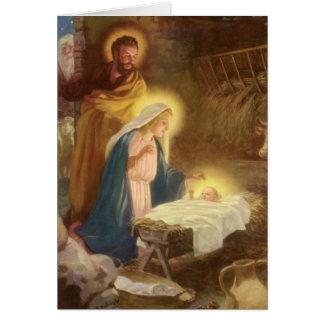 Vintage Christmas Nativity, Mary Joseph Baby Jesus Greeting Card