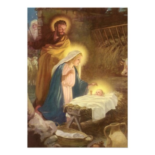 Baby Jesus In A Manger With Mary And Joseph | New Calendar Template ...