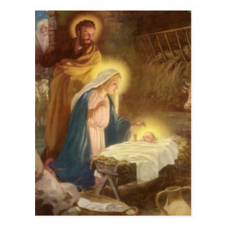 Vintage Christmas Nativity Mary Joseph Baby Jesus Postcard