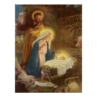 Vintage Christmas Nativity, Mary Joseph Baby Jesus Poster