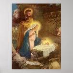Vintage Christmas Nativity, Mary Joseph Baby Jesus Poster