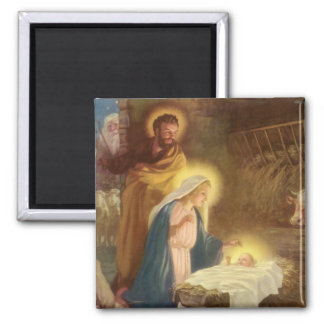 Vintage Christmas Nativity, Mary Joseph Baby Jesus Square Magnet