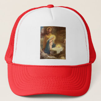 Vintage Christmas Nativity, Mary Joseph Jesus Trucker Hat