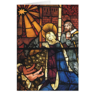 Vintage Christmas Nativity Scene in Stained Glass Card