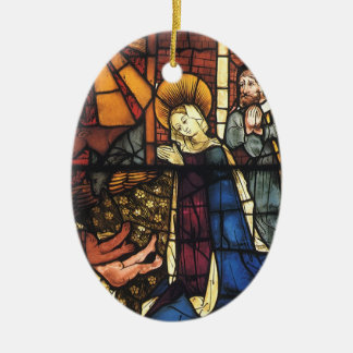 Vintage Christmas Nativity Scene in Stained Glass Ceramic Oval Decoration