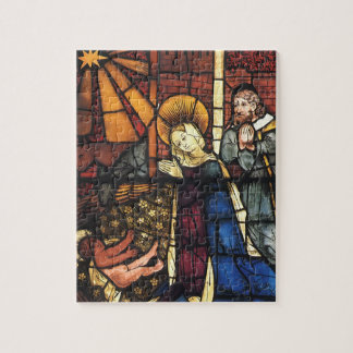 Vintage Christmas Nativity Scene in Stained Glass Jigsaw Puzzle