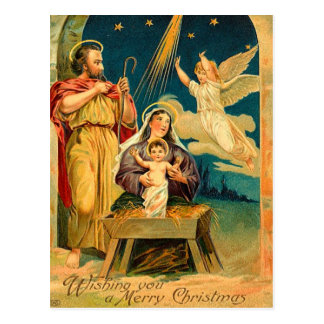 Vintage Christmas Nativity Scene Postcard