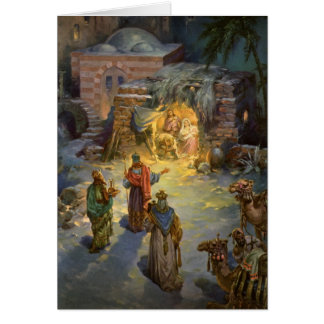 Vintage Christmas Nativity with Visiting Magi Card