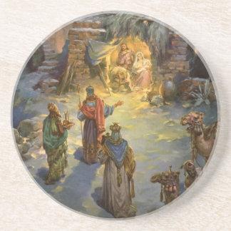 Vintage Christmas Nativity with Visiting Magi Coaster
