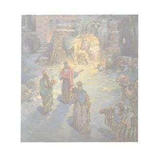 Vintage Christmas Nativity with Visiting Magi Notepad