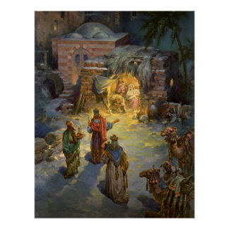 Vintage Christmas Nativity with Visiting Magi Poster