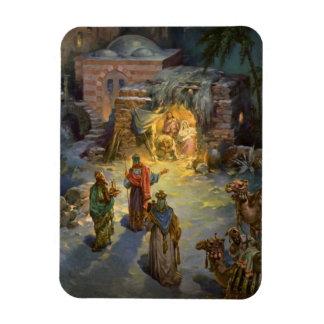 Vintage Christmas Nativity with Visiting Magi Rectangular Photo Magnet