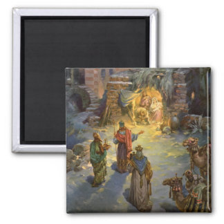 Vintage Christmas Nativity with Visiting Magi Square Magnet