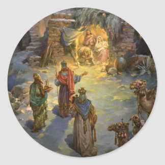 Vintage Christmas Nativity with Visiting Magi Round Sticker