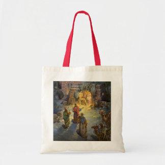 Vintage Christmas Nativity with Visiting Magi Tote Bag