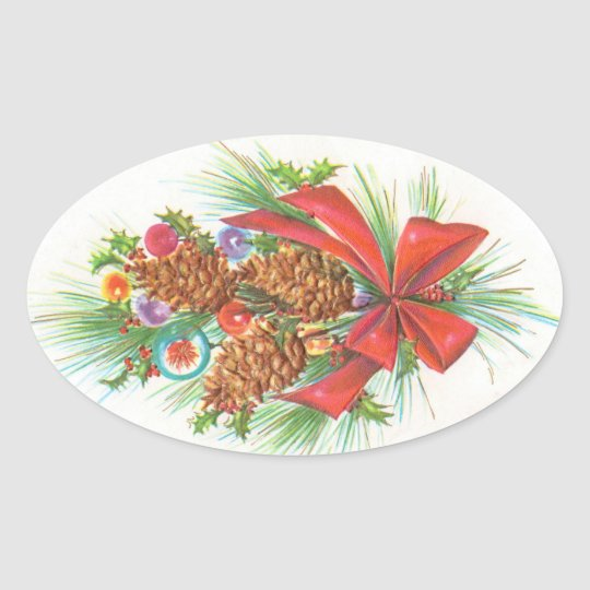 Vintage Christmas Oval Sticker