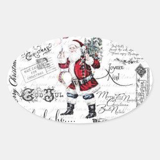 Vintage Christmas Oval Sticker