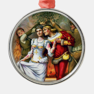Vintage Christmas Painting Under the Mistletoe Christmas Ornament