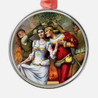 Vintage Christmas Painting Under the Mistletoe Christmas Ornament