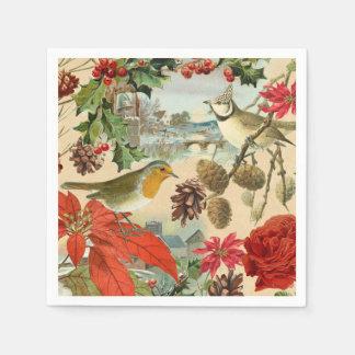 Vintage Christmas paper napkins w/ birds & flower